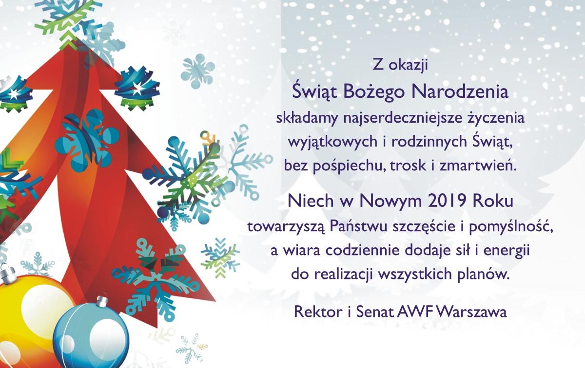 Awf życzenia Z Okazji świąt Bożego Narodzenia I Nowego 2019 Roku